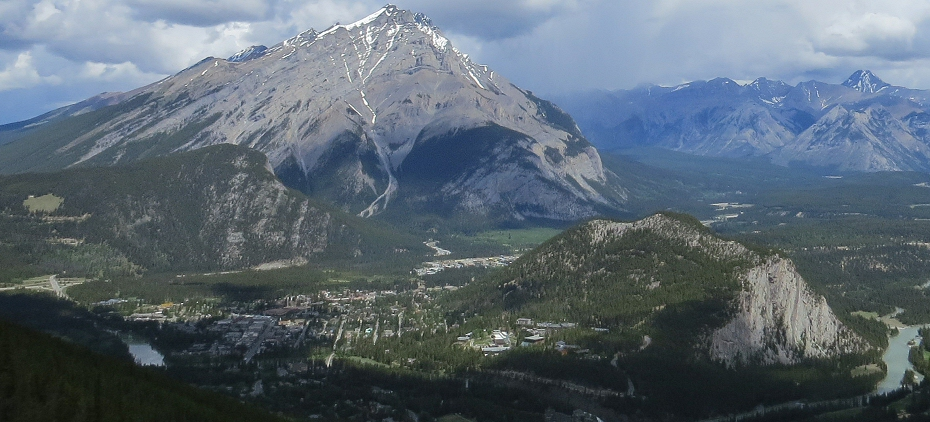 Banff overview from gondola on Sulphur Mountain