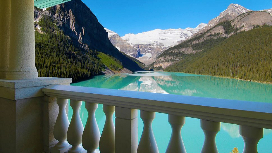 Lake Louise seen from a hotel balcony
